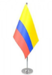 Colombia Desk / Table Flag with chrome stand and base.